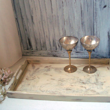 Shabby Chic Engraved Wooden Serving Tray, Antique Cream Distressed Vintage Tray, Decorative Tray, Kitchen Serving Tray,  Harvest Tray