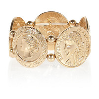 River Island Womens Gold tone coin repeater bracelet