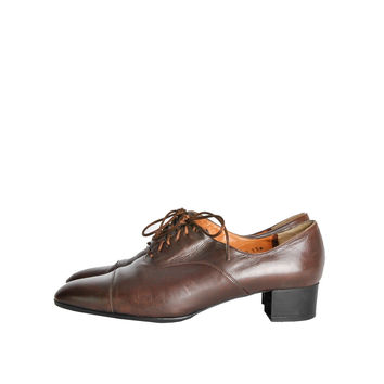 Robert Clergerie Vintage Brown Leather Heeled Oxford Shoes