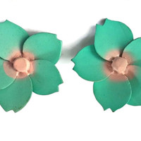 Big Flower Earrings Clip On Mint Green