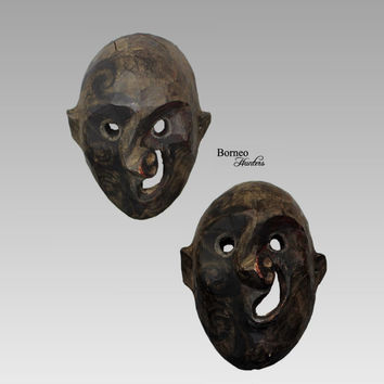 Borneo Mask Tribal Dayak Iban Dance Ceremonial Facial Figure Masquerade Wood Primitive Longhouse Ethnographic Artwork