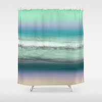 Twilight Sea in Shades of Green and Lavender Shower Curtain by Jenartanddesign