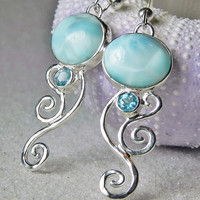 EARRINGS - Larimar Sterling Silver Spiral Earrings - Larimar Blue Topaz Earrings - Unique Larimar Earrings Handcrafted