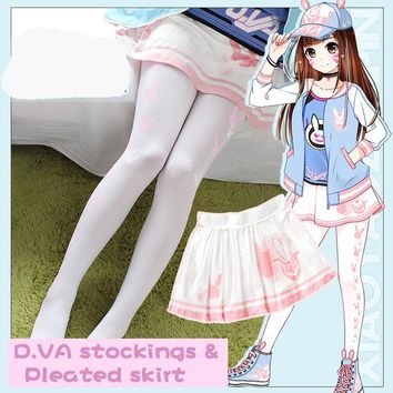 [Stock] Game OW D.VA Reaper Lolita Girl Cute printed Stockings Pleated skirt Animation free shipping New 2017