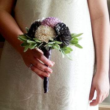 Small toss Ivory lilac dark grey rustic wedding BOUQUET sola Flowers, olive leafs, spring summer wedding, pastel bouquet, bridesmaid, custom