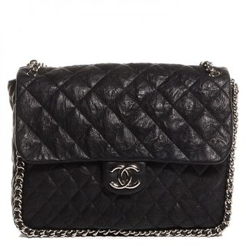 CHANEL Crumpled Lambskin Chain Around Maxi Flap Bag Black