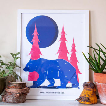 Bear Print, Wild Side Print, Forest Print, Bear Wall Art, Woodland Art, Nursery Decor, Nursery Bear Print, Home Decor, Animal Print, 12x16
