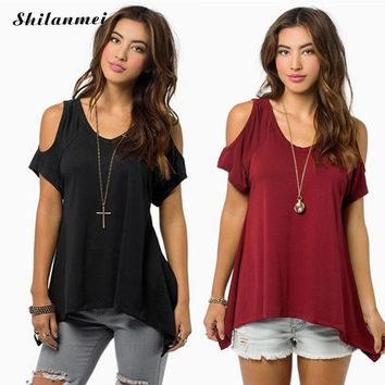 2018 slit side Cold Shoulder basis round neck Women Casual Summer T Shirt non-adjusted Straps Loose Top T-Shirt