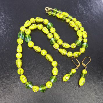 Green & Yellow Venetian Glass Lamp Work Beaded Necklace and Earrings, for Pierced Ears, Italian Beads, Vintage 1950s European Bead Jewelry