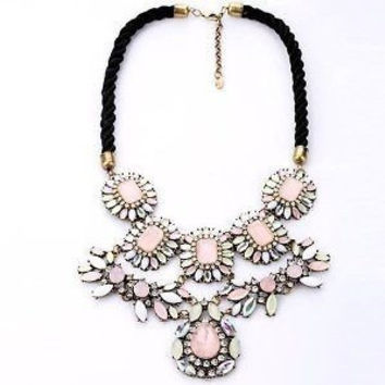 Shorouk Style Chunky Statement Flower Necklace Pink White