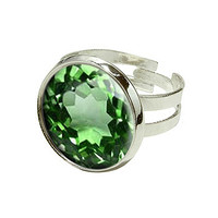 Emerald May Birthstone - Faux Resin Silver Plated Adjustable Novelty Ring