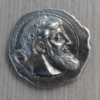 acient coins Dionysus Attic tetradrachm of the 5th c. B.C. depicts the angled head of Dionysus sterling silver 925 replica