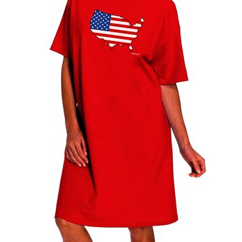 United States Cutout - American Flag Design Dark Adult Night Shirt Dress by TooLoud