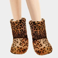 Leopard Puffy Indoor Bootie Slippers