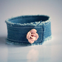 Shabby Denim Cuff with Vintage Rose Closure - Upcycle - OOAK