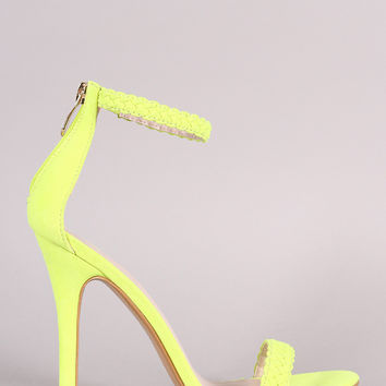 Suede Woven Ankle Strap Stiletto Heel