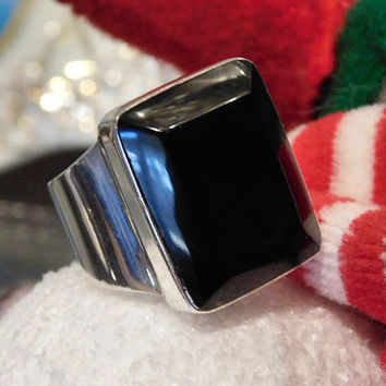 Vintage Mexican Black Onyx Ring Sterling Silver Modernist Chunky Statement Ring Mexico 925 Unisex Ring Heavy Think Bold Size 8 Eight Ring