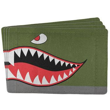 CUPUPWL Halloween WWII Flying Tiger Fighter Shark Nose All Over Placemat (Set of 4)