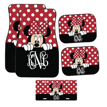 Disney Black and Red Peeking Minnie Mouse Inspired Car Mat / Car mat Monogram