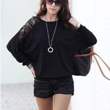 DCCKIX3 Women's Fashion Women Sexy Lace Batwing Long Sleeve Loose T-Shirt Tops Blouse Pullover DZ88 3580 = 1946804868