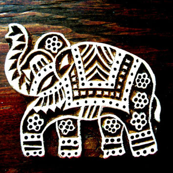 Elephant Hand Carved Wood Stamp Animal Indian Print Block