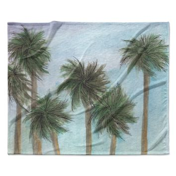 """Rosie Brown """"Tropical Forest"""" Blue Green Coastal Nature Watercolor Painting Fleece Throw Blanket"""