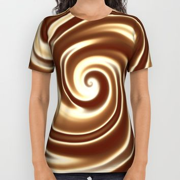 Chocolate milk cocktail spiral All Over Print Shirt by Natalia Bykova