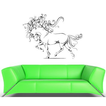 Wall Vinyl Sticker Decal Horse Hooves Mane Girls Abstraction Animal Unique Gift (ed413)