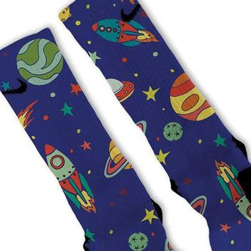 DCCK1IN space galaxy night fast shipping nike elite socks customized lebrons kobes kd  number 2