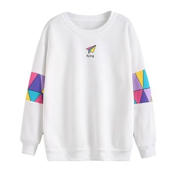 Sweatshirt Geometric Patchwork Women Long Sleeve Flying Paper plane Printed Hoodies Sweatshirt Feminina Loose Pullover bts