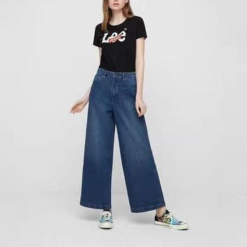"""Lee"" Women All-match Fashion Bell-bottomed Pants Distressed Loose Jeans Trousers Baggy Trousers"