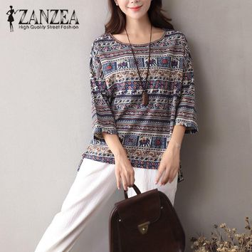 2017 ZANZEA Women Autumn Boho Floral O Neck 3/4 Sleeve Blouse Casual Vintage Shirt Cotton Linen Baggy Top Blusas Tunic Plus Size