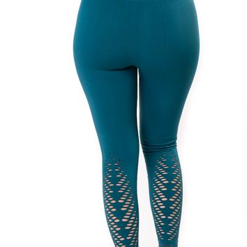 New High Waist Compression Seamless Teal Leaf Leggings