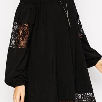 Black Long Sleeve Off Shoulder Sheer Lace Cut-Out Mini Shift Dress