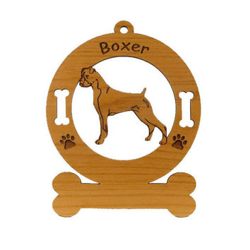 1950 Boxer Standing Uncropped Personalized Wood Ornament