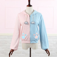 Joint Colors Kitten Paw Print With Kitten Ears Hoodie Jacket Free Ship SP141077