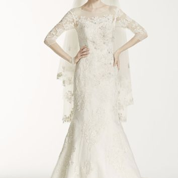Oleg Cassini Illusion 3/4 Sleeve Wedding Dress - Davids Bridal