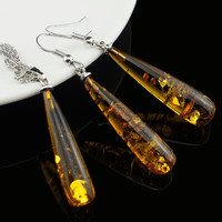 Women's Chic Tear Drop Baltic Amber 18k Platinum Plated Pendant Necklace Earring Wedding Jewelry Set L40601