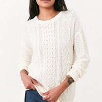 BDG High/Low Cable Crew-Neck Sweater