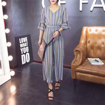 Summer Korean Stylish Stripes Sleeveless Jumpsuit Cropped Pants [4919983748]
