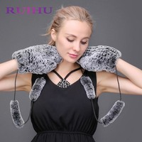 RUIHU Winter Women Gloves size8/8.5 Genuine Natural Mink Fur Glove Fashion Lovely Mittens Thick Warm Fur Gloves Mittens