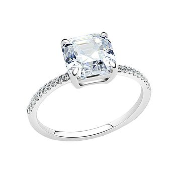 Divinity - Women's Stainless Steel High Polished Ring Radiant Cut CZ Ring