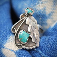 Navajo Rings Sterling Silver Turquoise Bohemian Festival Style