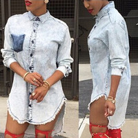 Light Blue Turn-Down Collar Long Sleeve Slit Denim Dress