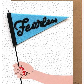 Fearless Removable Pennant Sticker Card