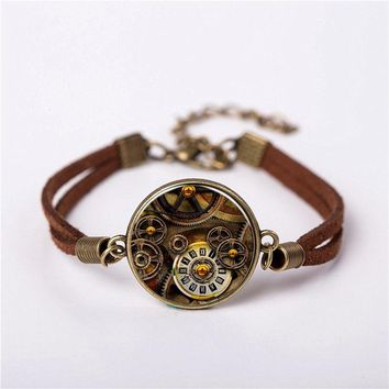 Movie Alice in Wonderland Watch of Life time Mechanical Jewelry Vintage Fashion Leather Bracelet Gift Women Chain Men Necklace