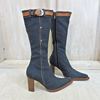 Womens Denim boots 5.5  EU 36 / Donald J Pliner / made in Italy / Tall knee high boots / Made in Italy / cowgirl western