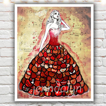The Red Dress, mixed media collage art, red girls room decor, fashion illustration, fine art print, giclee print, for her