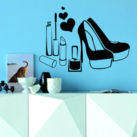 Wall Decal Fashion Beauty Salon Women's Shoes Love Heart Cosmetics Design Decals Wedding Hair Salon Hairdressing Living Room Home Decor 3774