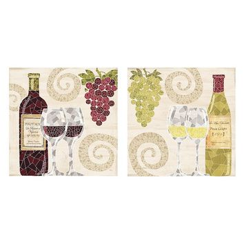 Wine Mosaic 2-piece Canvas Wall Art Set